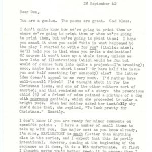 Typed letter, signed from Carolyn Kizer to Donald Finkel, September 28, 1962