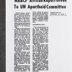 """NAACP African Report Given to UN Apartheid Committee"""