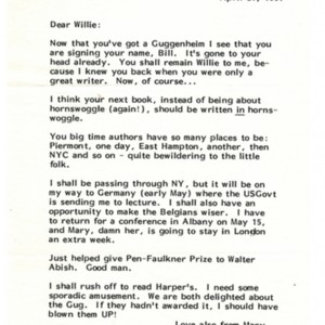 Typed letter, signed from William H. Gass to William Gaddis, April 21, 1981