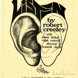 """The World Premiere of <em>Listen</em> by Robert Creeley"""