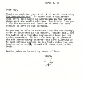 Typed letter, signed from Donald Finkel to May Swenson, January 15, 1981