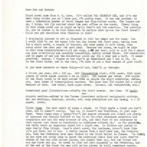 Typed letter, signed from John Gardner to Donald Finkel, circa 1961