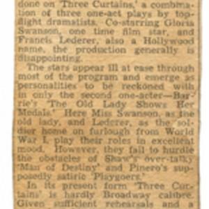 Newspaper clipping discussing <em>Three Curtains</em>, November 28, 1942.