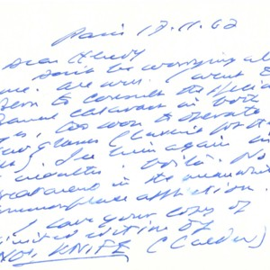 Autograph letter, signed from Samuel Beckett to Henry Wenning, November 17, 1967