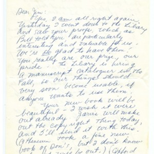 Autograph letter signed from Mona Van Duyn to James Merrill, undated