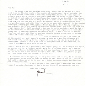 Typed letter, signed from Howard Nemerov to James Dickey, September 24, 1965