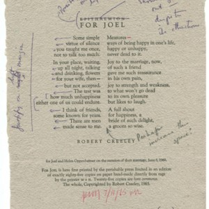 "Proof of ""For Joel"" by Robert Creeley"