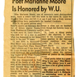 """Poet Marianne Moore Is Honored by W.U."""