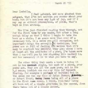 Typed letter, signed from Maurice English to Isabella Gardner, March 20, 1955