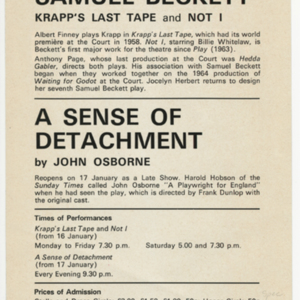 <em>Krapp's last</em> tape and&nbsp;<em>Not I&nbsp;</em>Advertising Flyer