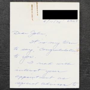 Letter from Marie Larken to John Ervin