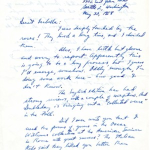 Autograph letter, signed from Theodore Rothke to Isabella Gardner, May 30, 1958