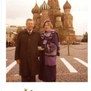 William Jay Smith and Sonja Haussmann Smith in front of Saint Basil's Cathedral in Moscow, Russia