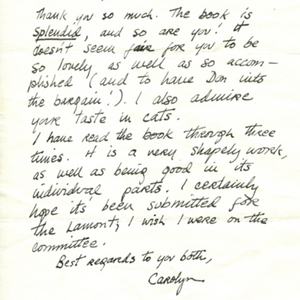 Autograph letter, signed from Carolyn Kizer to Constance Urdang, September 26, 1965