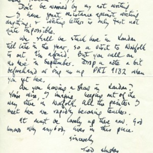 Autograph letter, signed from Ted Hughes to Graham Ackroyd, no date