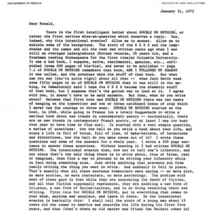 Typed letter, signed [photocopy] from Raymond Federman to Ronald Sukenick, January 31, 1972