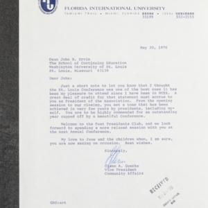 Letter from Glenn A. Goerke to Dean John B. Ervin