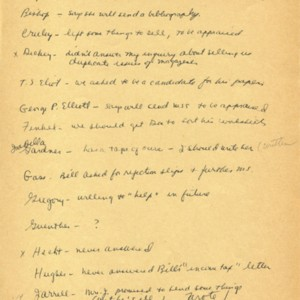 Mona Van Duyn's author prospect list for the Modern Literature Collection, May 4 – October 26, 1964