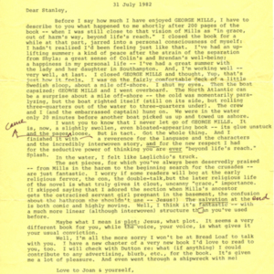 Typed letter, signed from John Irving to Stanley Elkin, July 31, 1982