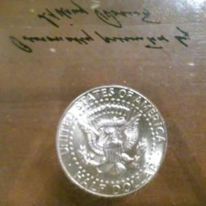 Kennedy half dollar dated 1964