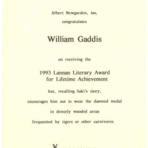 """Albert Newgarden, too, congratulated William Gaddis on receiving the 1993 Lannan Literary Award for Lifetime Achievement"""
