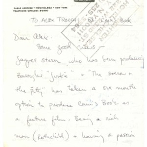 Autograph letter, signed from Daniel Richter to Alexander Trocchi, March 29, 1976