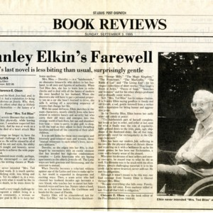 """Stanley Elkin's Farewell"" by Clarence E. Olson from the<em> St. Louis Post-Dispatch</em>, September 3, 1995"
