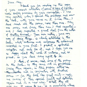 Autograph letter, signed from John Hall Wheelock to May Swenson, August 23, 1958
