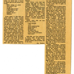 """Robert Creeley is Harsh About Love"" by Martha Tucker from the <em>Virginia Gazette</em>, 1959."