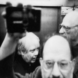 William H. Gass, Allan Ginsberg, and Arthur Miller in an elevator in St. Petersburg, Russia, 1985<br />