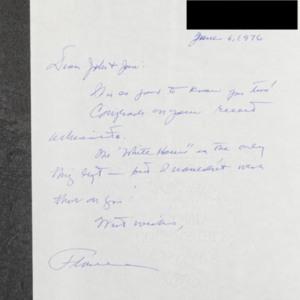 Letter to John and Jane Ervin