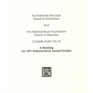 "Invitation to a ""A Reading by 1991 National Books Award Finalists"""