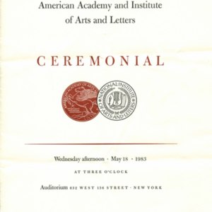 American Academy and Institute of Arts and Letters Ceremonial program marking the induction of William H. Gass, May 18, 1983