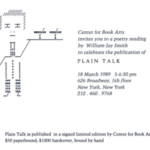 Invitation to celebrate the publication of <em>Plain Talk</em> by William Jay Smith