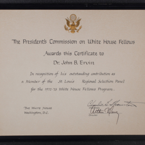 The President's Commission on White House Fellows certificate