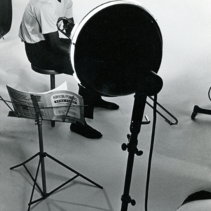 "Billy Towns seated with music stand during a studio shoot for production of ""More Than One Thing"""
