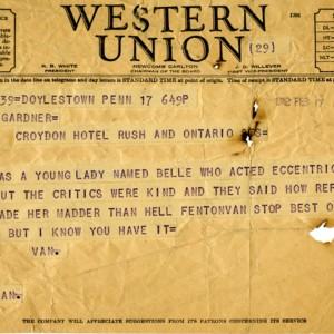 Western Union telegram from Harold Van Kirk to Isabella Gardner, February 17, 1942