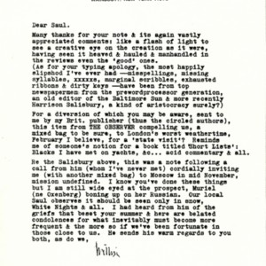 Typed letter, signed [photocopy] from William Gaddis to Saul Bellow, October 12, 1985