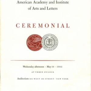 American Academy and Institute of Arts and Letters Ceremonial program
