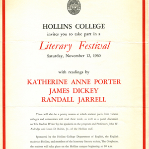 Advertisement for Hollins College's first literary fesitval, November 12, 1960
