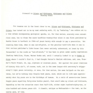 Preface to the 1990 edition by Thunder's Mouth Press of <em>Criers and Kibitzers, Kibitzers and Criers </em>by Stanley Elkin