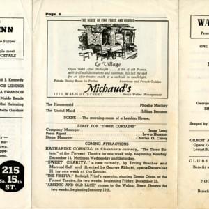 Playbill for <em>Three Curtains</em> at the Walnut Street Theatre