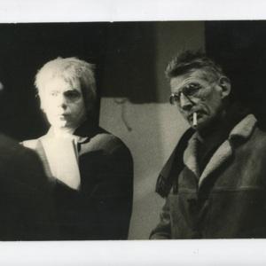 Marin Karmitz , Michael Lonsdale and Samuel Beckett on the film set of <em>Com&eacute;die</em>