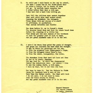 """""""September, The First Day of School"""" by Howard Nemerov."""