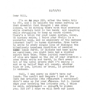 Typed letter, signed from John Hawkes to William Gaddis, November 18, 1993