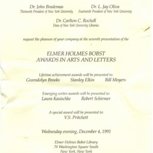 Invitation for the Elmer Holmes Bost Awards in Arts and Letters, December 4, 1991