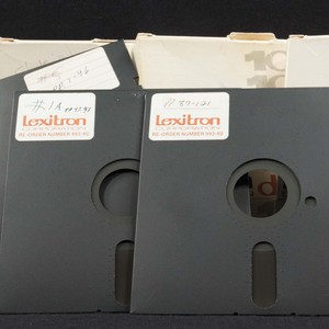 5 1/4 inch floppy Lexitron diskettes use by Stanley Elkin to produce <em>George Mills</em>