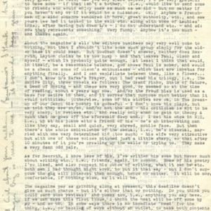 Typed letter, signed from Robert Creeley to Larry Bronfman, December 1, 1953