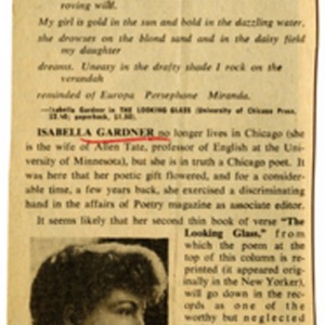 """Isabella Gardner: Poet in Search of an Audience"" by Van Allen Bradley, June 30, 1962"