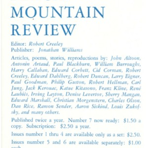 Prospectus for <em>Black Mountain Review</em> edited by Robert Creeley